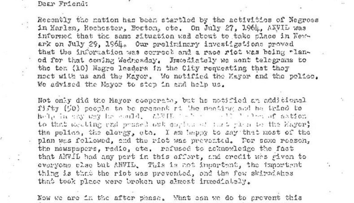 thumbnail of Anvil Letter on potential rebellion in Newark (July 27, 1964)