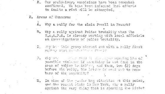 thumbnail of Anvil Meeting Outline, July 1964- Potential rebellion in Newark after Harlem