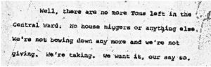"""Excerpt from the stenographic transcript of Aubrey Jones' comments to the Central Planning Board on June 22, 1967 during the """"blight hearings."""" These public hearings were held to determine if areas in the Central Ward were """"blighted"""" so that the lands could be taken by eminent domain for the construction of the New Jersey College of Medicine and Dentistry. -- Credit: Newark Public Library"""