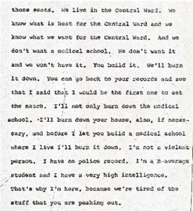 "Excerpt from the stenographic transcript of Aubrey Jones' comments to the Central Planning Board on June 22, 1967 during the ""blight hearings."" These public hearings were held to determine if areas in the Central Ward were ""blighted"" so that the lands could be taken by eminent domain for the construction of the New Jersey College of Medicine and Dentistry. -- Credit: Newark Public Library"
