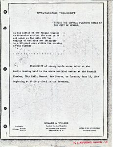 """Cover page from transcript of stenographic notes taken at the Medical School """"blight hearings"""" on June 13, 1967. -- Credit: Newark Public Library"""