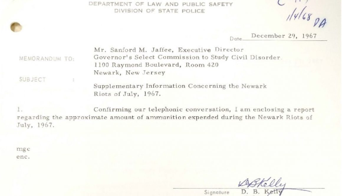 thumbnail of C-119 (Memo on ammuntion expended by the NJ State Police during Newark riots- Dec 29, 1967)