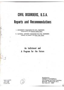 Excerpt from a pamphlet distributed by the Church in Metropolis organization to summarize the findings of the Governor's Select Commission on Civil Disorder. The pamphlet contains a compilation of newsclippings from the Newark Evening News related to the Commission's Report and a summary of its recommendations. -- Credit: Newark Public Library