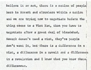 """Excerpt from the stenographic transcript of Clinton Bey's comments to the Central Planning Board on June 29, 1967 during the """"blight hearings."""" These public hearings were held to determine if areas in the Central Ward were """"blighted"""" so that the lands could be taken by eminent domain for the construction of the New Jersey College of Medicine and Dentistry. -- Credit: Newark Public Library"""