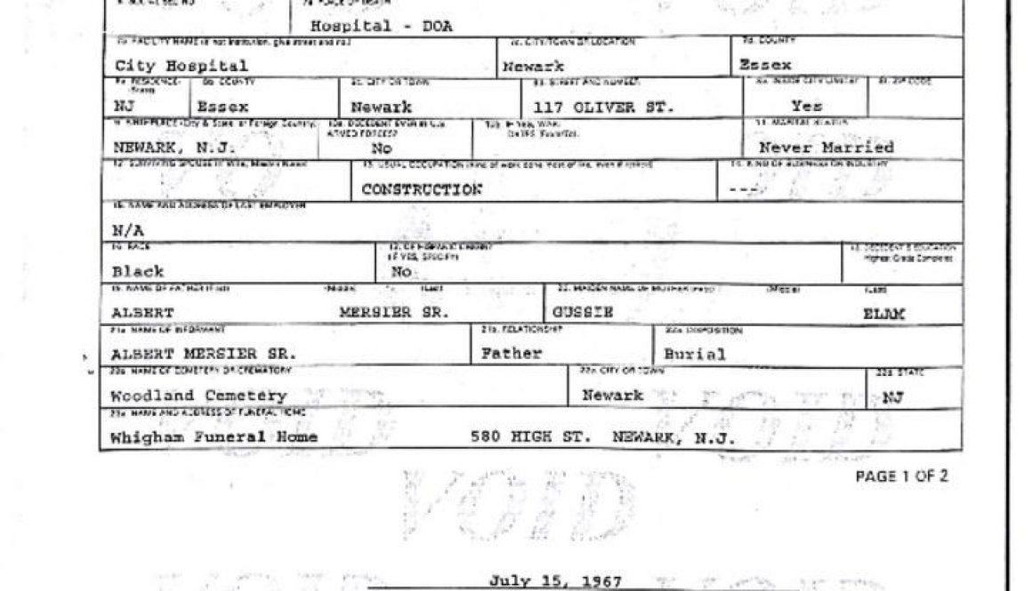 thumbnail of Death Certificate of Albert Mersier