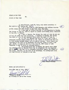 Deposition of Dale Wittner, reporter for LIFE Magazine, in which he testifies to the accuracy of his coverage on the fatal shooting of William Furr in the July 28, 1967 issue of LIFE Magazine. -- Credit: junius Williams Papers