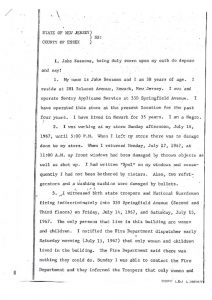 "Deposition of Jake Sessoms, African American owner of Sentry Appliance Service on Springfield Avenue, before the State of New Jersey Grand Jury. Sessoms stated ""I had written 'Soul' on his windows and consequently I had not been bothered by rioters."" However, Sessoms noted that his front windows were damaged by thrown objects and gunfire the night of Sunday July 16, 1967. -- Credit: Newark Public Library"