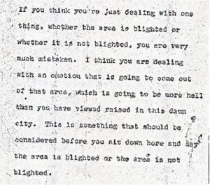 """Excerpt from the stenographic transcript of Donald Tucker's comments to the Central Planning Board on June 22, 1967 during the """"blight hearings."""" These public hearings were held to determine if areas in the Central Ward were """"blighted"""" so that the lands could be taken by eminent domain for the construction of the New Jersey College of Medicine and Dentistry. -- Credit: Newark Public Library"""