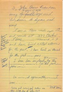 Newark Legal Services Project draft deposition of John Richardson on the fatal shooting of Raymond Gilmer on July 18, 1967. -- Credit: Junius Williams Papers