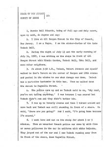 "Deposition of Fannie Bell Edwards before the Essex County Grand Jury, in which she describes witnessing a Newark policeman ""raise his pistol and aim it at Tedock and shoot,"" while Tedock Bell was running up Magnolia Street unarmed on July 14, 1967. -- Credit: Newark Public Library"