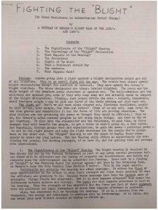 """Instructional leaflet from an unnamed """"veteran of Newark's blight wars of the 1950's and 1960's"""" explaining how blight hearings work and offering suggestions for community opposition to a blight declaration. -- Credit: Newark Public Library"""