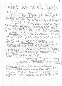 """Flyer distributed in the Central Ward to encourage community members to attend the """"blight hearings"""" on June 12, 1967 to protest the seizure of land for the construction of a medical school. -- Credit: Junius Williams Papers"""