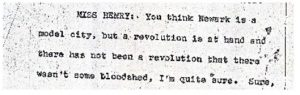 """Excerpt from the stenographic transcript of Frances Henry's comments to the Central Planning Board on June 22, 1967 during the """"blight hearings."""" These public hearings were held to determine if areas in the Central Ward were """"blighted"""" so that the lands could be taken by eminent domain for the construction of the New Jersey College of Medicine and Dentistry. -- Credit: Newark Public Library"""