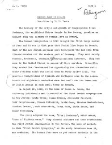 "A report of the Works Progress Administration (WPA) on ""German Jews in Newark."" The WPA employed millions during the Great Depression through projects such as ethnological surveys of major cities like Newark. -- Credit: New Jersey State Archives"
