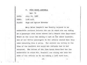 """Grand Jury report describing the death of 31-year-old Mary Helen Campbell on July 14, 1967, who was a passenger in a car that collided with a Newark Fire Department Truck. The Grand Jury found """"no cause for indictment."""" -- Credit: Newark Public Library"""