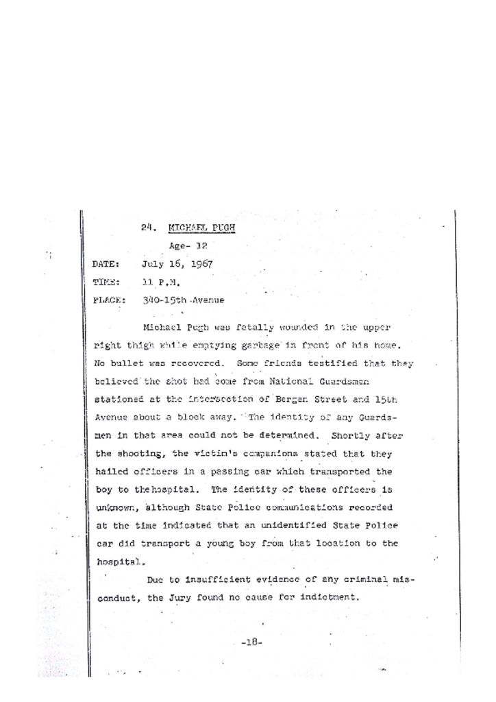 Grand Jury Report on Death of Michael Pugh