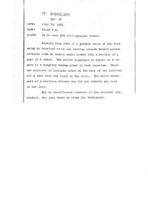 "Grand Jury report describing fatal shooting of 24-year-old Raymond Hawk on July 15, 1967, who ""died of a gunshot wound of the head"" after allegedly running towards Newark police with ""a section of a pipe or a cable."" The Grand Jury found ""no cause for indictment."" -- Credit: Newark Public Library"