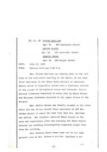 "Grand Jury report describing the fatal shooting of 29-year-old Rebecca Brown on July 15, 1967, who was shot through the window of her Bergen Street apartment. The report states that she was an ""innocent victim"" of shooting by State Police and National Guardsmen responding to reports of sniper fire in the area. The Grand Jury found ""no cause for indictment."" -- Credit: Newark Public Library"