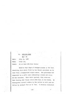 "Grand Jury report describing the fatal shooting of 25-year-old William Furr on July 15, 1967, who ""died of shotgun wounds in the back"" after being shot by two Newark patrolmen after observing ""Furr leaving the liquor store with beer in his hands."" The Grand Jury found ""no cause for indictment."" -- Credit: Newark Public Library"