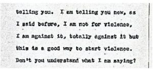 """Excerpt from the stenographic transcript of Henry Robinson's comments to the Central Planning Board on June 14, 1967 during the """"blight hearings."""" These public hearings were held to determine if areas in the Central Ward were """"blighted"""" so that the lands could be taken by eminent domain for the construction of the New Jersey College of Medicine and Dentistry. -- Credit: Newark Public Library"""