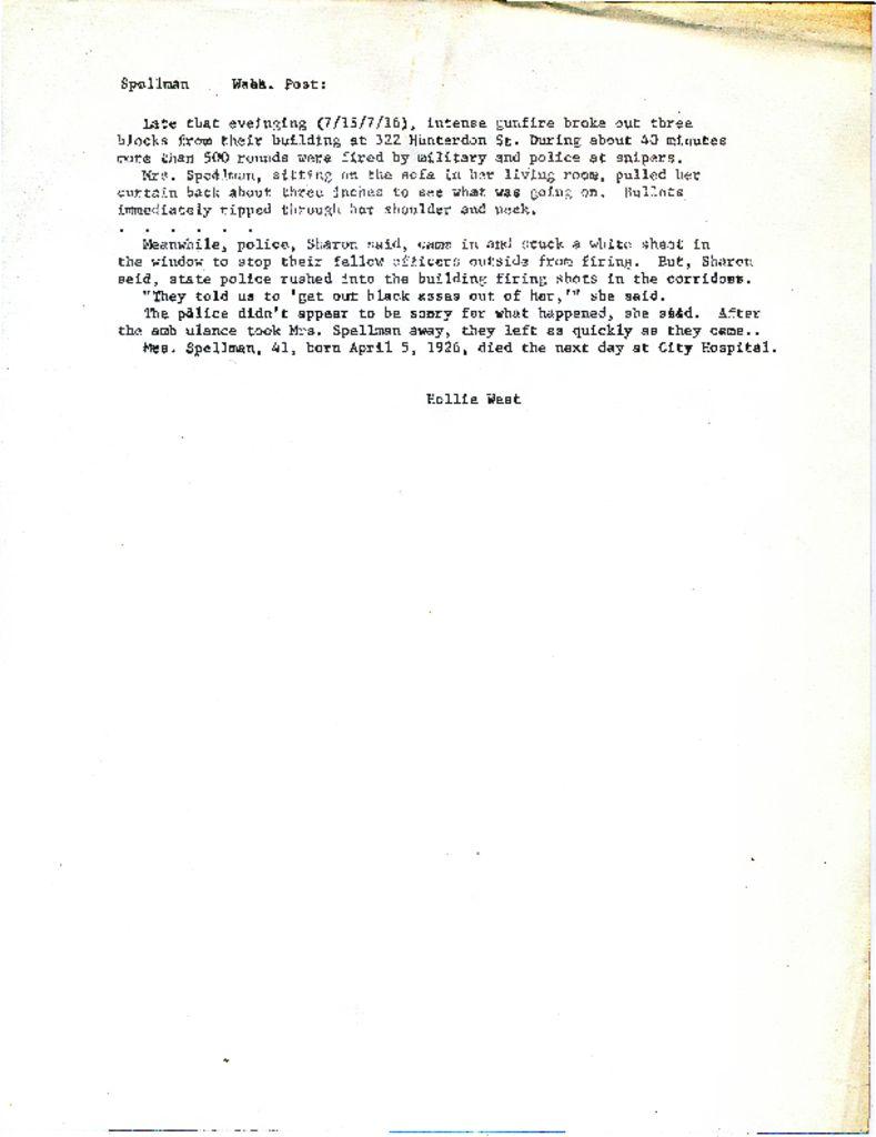 eloise spellman the north newark thumbnail of hollie west statement on eloise spellman washington post