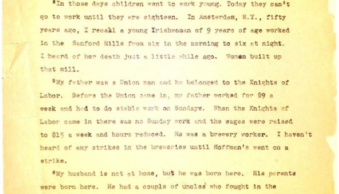 thumbnail of Interview of Irish First Generation Woman, 63 yrs old (WPA Case History)