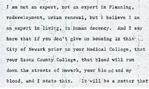 """Excerpt from the stenographic transcript of James Walker's comments to the Central Planning Board on June 13, 1967 during the """"blight hearings."""" These public hearings were held to determine if areas in the Central Ward were """"blighted"""" so that the lands could be taken by eminent domain for the construction of the New Jersey College of Medicine and Dentistry. -- Credit: Newark Public Library"""