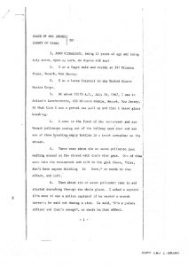 "Deposition of 19-year-old John Richardson before the Essex County Grand Jury, in which he describes the fatal shooting of Raymond Gilmer on July 18, 1967, who he claims was shot by Newark Police ""without any warning."" -- Credit: Newark Public Library"