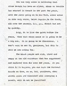 """Excerpt from the stenographic transcript of Joseph Brown's comments to the Central Planning Board on June 22, 1967 during the """"blight hearings."""" These public hearings were held to determine if areas in the Central Ward were """"blighted"""" so that the lands could be taken by eminent domain for the construction of the New Jersey College of Medicine and Dentistry. -- Credit: Newark Public Library"""