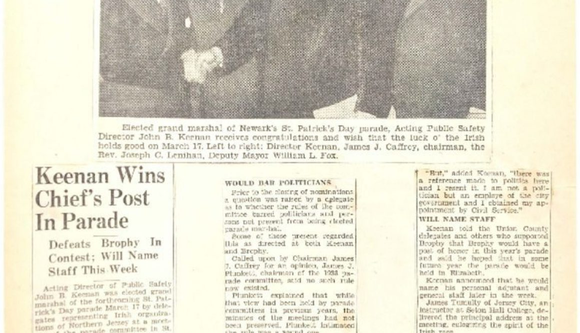 thumbnail of Keenan Wins Chief's Post in Parade (Star Ledger- March 4, 1940)
