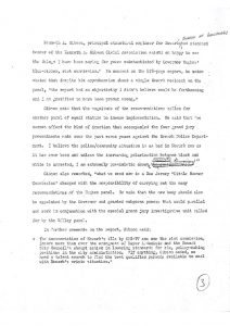 Draft article by Newark Evening News reporter Doug Eldridge describing Ken Gibson's comments on the report issued by the Governor's Select Commission on Civil Disorders. Gibson, a member of Newark's Business Industrial Coordinating Council (BICC) and 1966 mayoral candidate, became the first African-American mayor of Newark in 1970. -- Credit: Newark Public Library