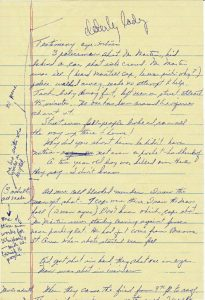 """Notes of Newark Legal Services Project on eye-witness testimony of the fatal shooting of 22-year-old Robert Lee Martin on July 14, 1967. Witness claims that Martin's death was """"cold blooded murder."""" -- Credit: Junius Williams Papers"""