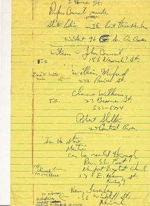 Handwritten notes of Newark Legal Services Project regarding witnesses to the fatal shooting of Rufus Council on July 14, 1967. -- Credit: Junius Williams Papers