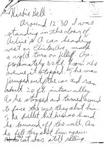 Witness statement given to Newark Legal Services Project by Herbie Bell on the fatal shooting of Raymond Gilmer on July 18, 1967. -- Credit: Junius Williams Papers