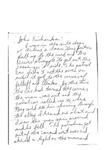Witness statement given to Newark Legal Services Project by John Richardson on the fatal shooting of Raymond Gilmer on July 18, 1967. -- Credit: Junius Williams Papers