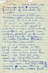Witness statement of Lavenia Darby on the fatal shooting of Tedock Bell, as transcribed by Junius Williams of Newark Legal Services Project. Darby reports hearing shots and seeing Tedock Bell wounded by gunshots outside her door on July 14, 1967. -- Credit: Junius Williams Papers