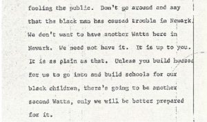 """Excerpt from the stenographic transcript of Louise Epperson's comments to the Central Planning Board on June 13, 1967 during the """"blight hearings."""" These public hearings were held to determine if areas in the Central Ward were """"blighted"""" so that the lands could be taken by eminent domain for the construction of the New Jersey College of Medicine and Dentistry. -- Credit: Newark Public Library"""