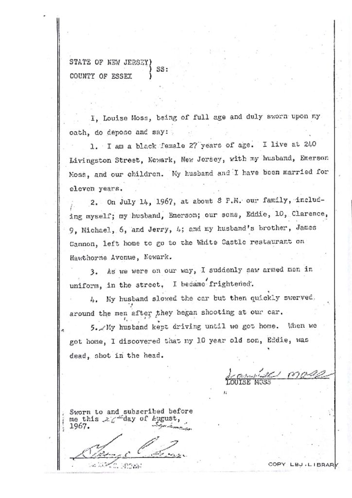 Deposition of Louise Moss on Eddie Moss