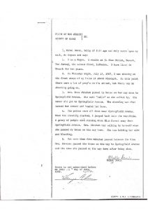 "Deposition of Mabel Davis before the Essex County Grand Jury, in which she describes police shooting near Springfield Avenue and seeing Rose Abraham walking up Blum Street ""holding her side and bleeding."" -- Credit: Newark Public Library"
