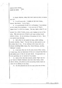 "Deposition of Maggie Hawkins before the Essex County Grand Jury, in which she describes the fatal shooting of William Furr by Newark policemen on July 15, 1967, who Hawkins says was ""shot down like a dog or rabbit."" -- Credit: Newark Public Library"