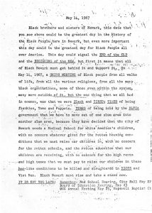 Flyer distributed in the Central Ward to encourage community members to attend a Unity Meeting on May 14, 1967 to protest the seizure of land for the construction of a medical school. -- Credit: Junius Williams Papers