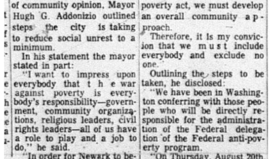 thumbnail of Mayor tells leaders how he hopes to allay unrest in Newark (NJ Afro American Aug22,1964)