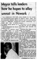 Mayor tells leaders how he hopes to allay unrest in Newark (NJ Afro American Aug22,1964)