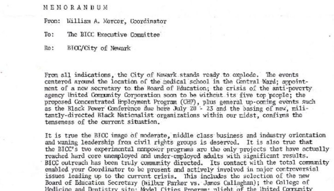 thumbnail of Memorandum from William A. Mercer to BICC Executive Committee (May 1967)