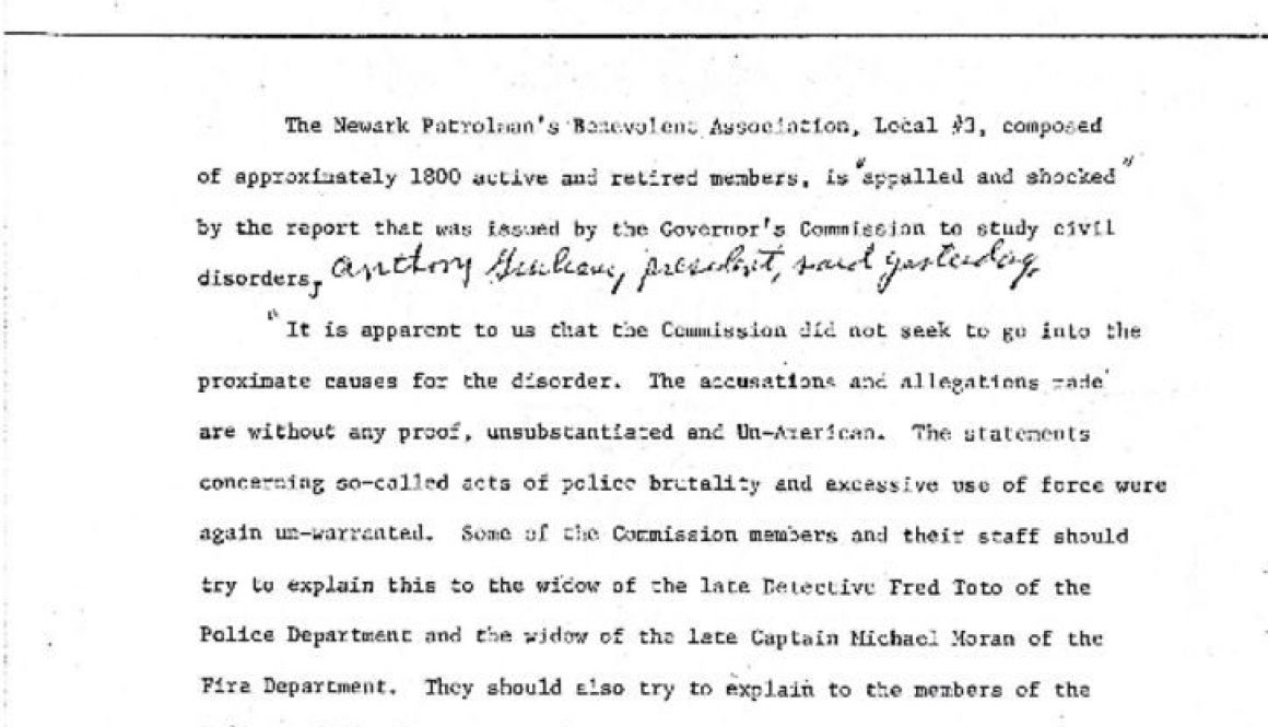 thumbnail of Newark PBA Press Release on Gov Commission Report- Feb 12 1968