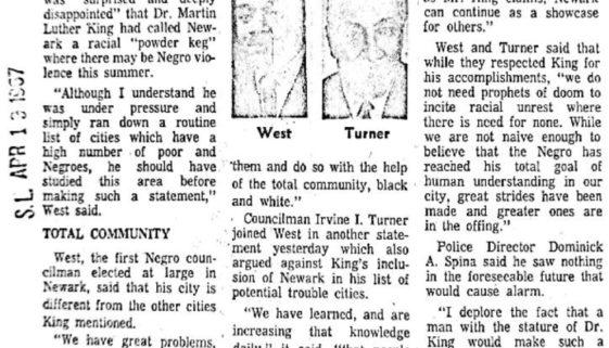thumbnail of Newark councilmen spurn King's 'powder keg' tag (Star-Ledger April 19, 1967)