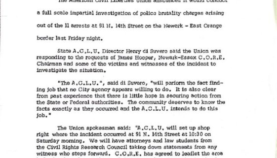 thumbnail of News Release from N.J. ACLU about Police Brutality at Newark-East Orange Border