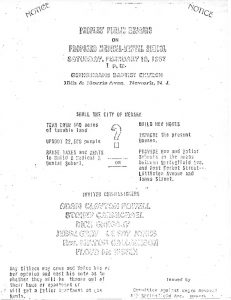 Flyer distributed by the Committee Against Negro and Puerto Rican Removal to promote attendance at a February 18th hearing regarding the planned Medical School construction site in the Central Ward. -- Credit: Junius Williams Papers