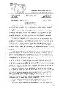 Press release from the NAACP on July 22, 1967 with commentary from Roy Wilkins and details of the efforts of the organization to assist community members during the Newark rebellion. -- Credit: Newark Public Library