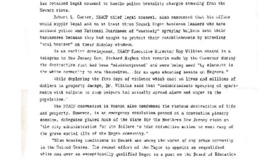 thumbnail of Press Release- NAACP Aids Victims Of Riot in Newark (July 22,1967)